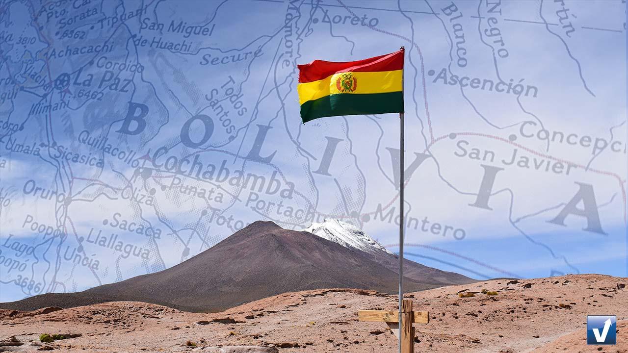 Mapa e Bandeira Bolívia
