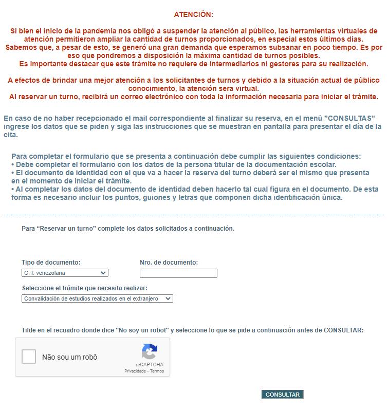 Reserva de Turno MEC Argentina
