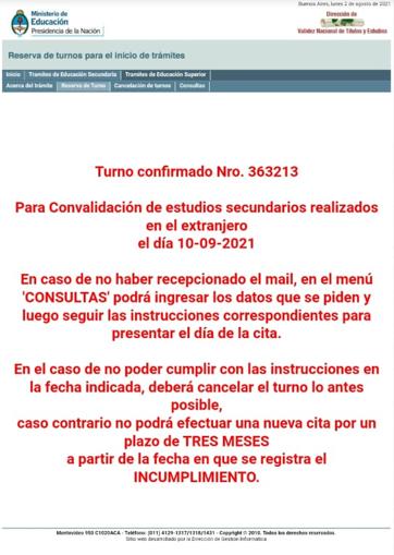 Reserva de turno MEC Argentino 4